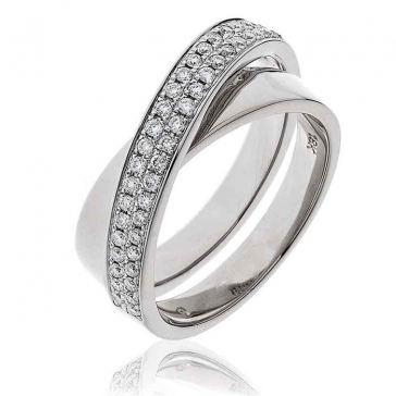 Diamond Pave Cross-Over Ring 0.30ct, 18k White Gold