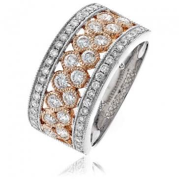 Diamond Pave Dress Ring 1.00ct, 18k White & Rose Gold
