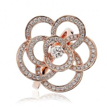 Diamond Pave Flower Ring 0.70ct, 18k Rose Gold