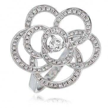 Diamond Pave Flower Ring 0.70ct, 18k White Gold