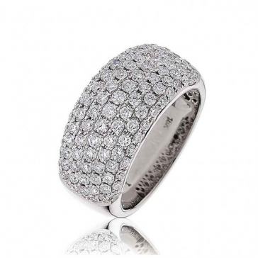 Diamond Pave Set Half Eternity Ring 1.65ct, 18k White Gold