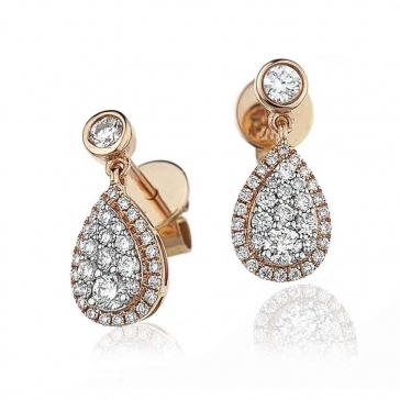 Diamond Pear Drop Earrings 0.70ct, 18k Rose Gold