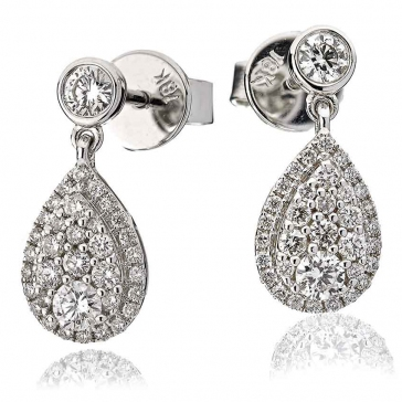 Diamond Pear Drop Earrings 0.70ct, 18k White Gold