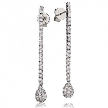 Diamond Pear Drop Earrings 0.75ct, 18k White Gold