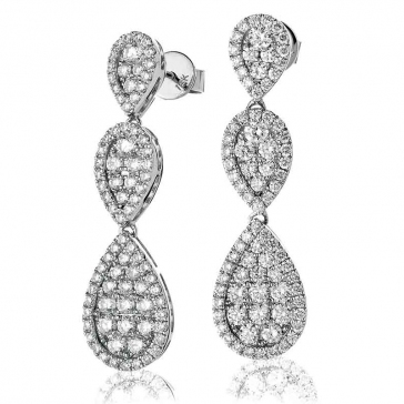 Diamond Pear Shape Drop Earrings 2.00ct, 18k White Gold