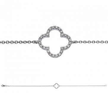 Diamond Pendant Bracelet 0.10ct, 18k White Gold