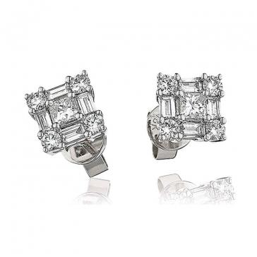 Diamond Princess & Baguette Earrings 1.00ct, 18k White Gold