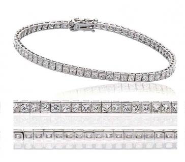 Diamond Princess Bracelet 4.00ct, 18k White Gold G/SI1