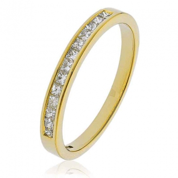 Diamond Princess Half Eternity Ring 0.25ct, 18k Gold