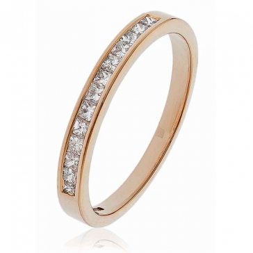Diamond Princess Half Eternity Ring 0.25ct, 18k Rose Gold