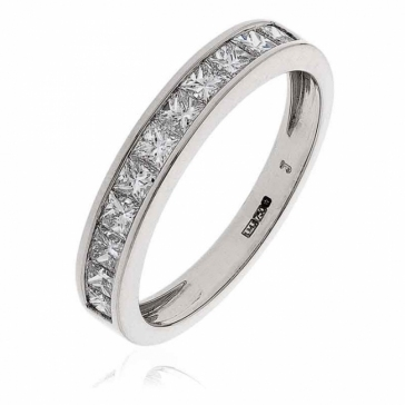 Diamond Princess Half Eternity Ring 0.75ct, 18k White Gold