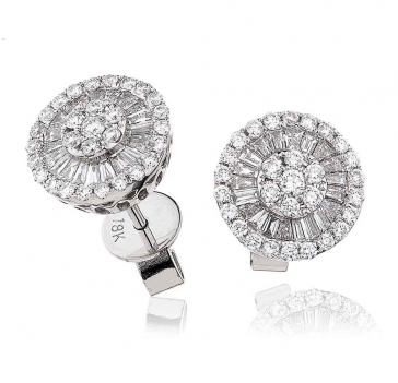 Diamond Round & Baguette Earrings 0.80ct, 18k White Gold
