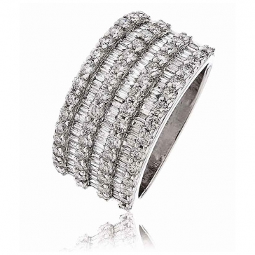 Diamond Seven Row Dress Ring 2.25ct, 18k White Gold
