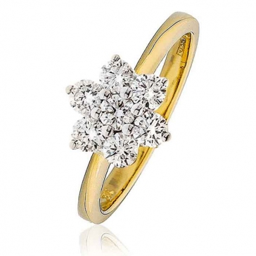 Diamond Seven Stone Cluster Ring 0.75ct, 18k Gold