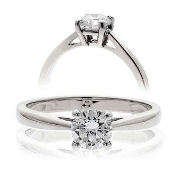 Diamond Solitaire Engagement Ring 1.00ct, 18k White Gold