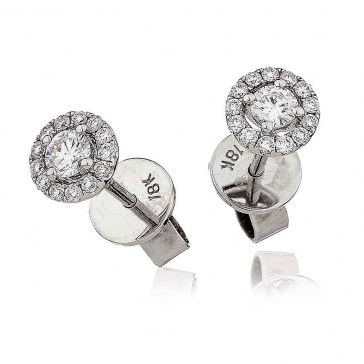 Diamond Solitaire Halo Stud Earrings 0.35ct, 18k White Gold