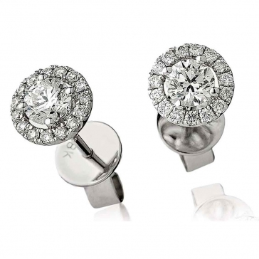 Diamond Solitaire Halo Stud Earrings 0.60ct, 18k White Gold