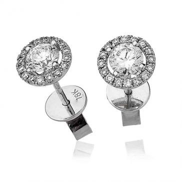 Diamond Solitaire Halo Stud Earrings 0.75ct, 18k White Gold