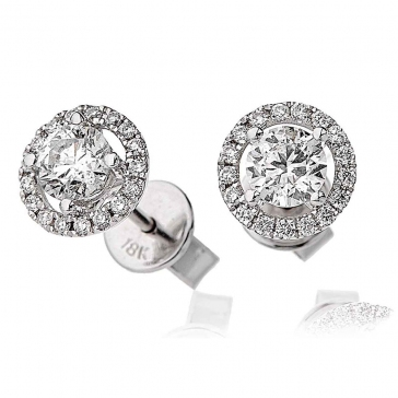 Diamond Solitaire Halo Stud Earrings 0.85ct, 18k White Gold