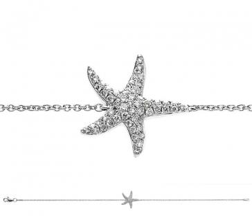 Diamond Starfish Pendant Bracelet 0.25ct, 18k White Gold