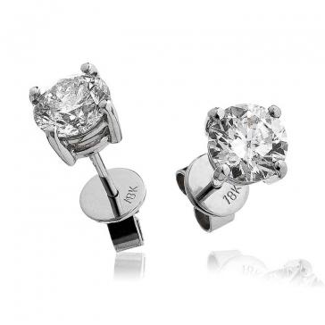 Diamond Studs 1.00ct, 18k White Gold