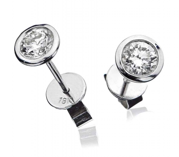 Diamond Stud Earrings Bezel Set 1.00ct, 18k White Gold