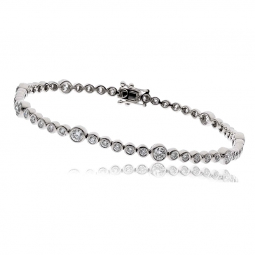 Diamond Tennis Bracelet 2.50ct H/SI, 18k White Gold