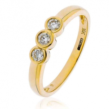 Diamond Trilogy Ring Bezel/Rub-Over Set 0.25ct, 18k Gold