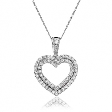 Diamond Twin Heart Pendant 0.60ct, 18k White Gold