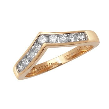 Diamond Wishbone Half Eternity Ring 0.50ct, 9k Gold