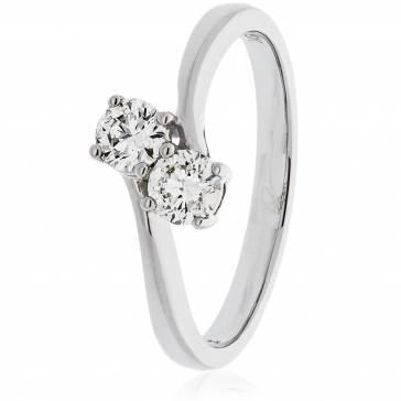 Diamond Twin Engagement Ring 0.45ct, 18k White Gold