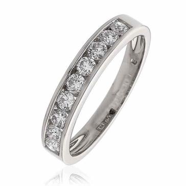 Diamond 9 Stone Half Eternity Ring 0.50ct, 18k White Gold
