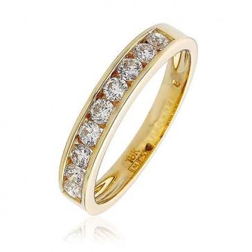 Diamond 9 Stone Half Eternity Ring 0.50ct, 9k Gold