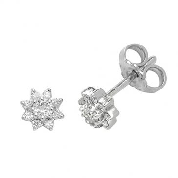 Diamond 9 Stone Stud Earrings 0.25ct, 9k White Gold