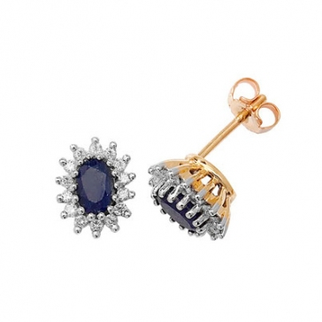 Diamond and Blue Sapphire Earrings 0.31ct, 9k Gold