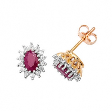 Diamond and Ruby Earrings 0.31ct, 9k Gold