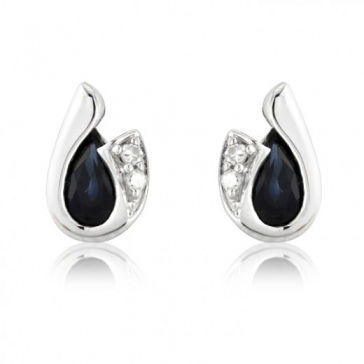 Diamond and Sapphire Pear Cut Earrings, 9k White Gold