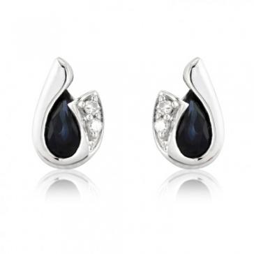 Diamond and Sapphire Pear Cut Earrings, 9k White Gold