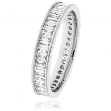 Diamond Baguette Eternity Ring 1.75ct, 18k White Gold