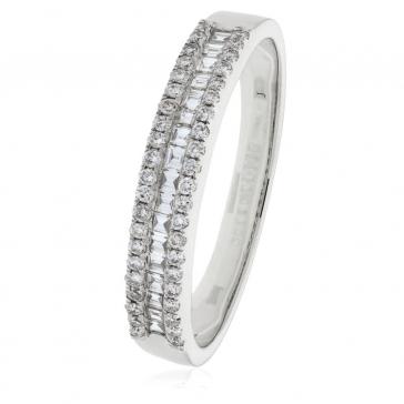 Diamond Baguette Half Eternity Ring 0.33ct, 18k White Gold
