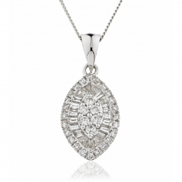 Diamond Baguette & Round Cut Necklace 0.50ct, 18k White Gold