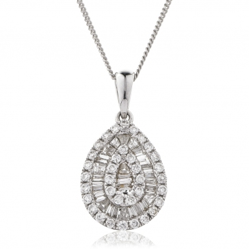 Diamond Baguette & Round Cut Pear Necklace 0.40ct, 18k White Gold