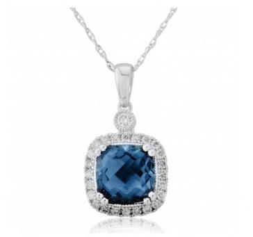 Diamond & Blue Topaz Pendant Necklace 2.20ct. 9k White Gold