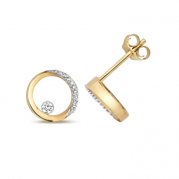 Diamond Circular Stud Earrings 0.08ct. 9k Gold