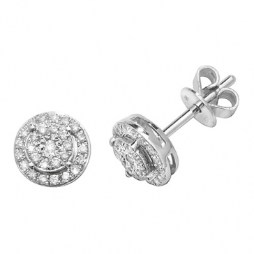 Diamond Cluster Halo Studs 0.24ct. 9k White Gold