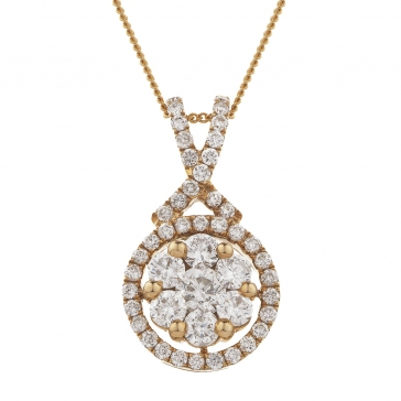 Diamond Cluster Necklace 0.60ct, 18k Rose Gold