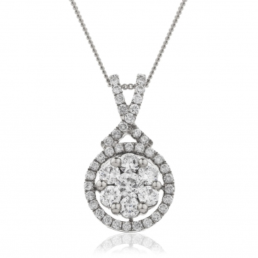 Diamond Cluster Necklace 0.60ct, 18k White Gold