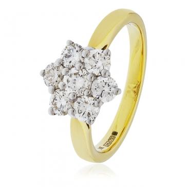 Diamond Cluster Seven Stone Ring 1.00ct, 18k Gold