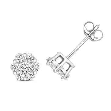 Diamond Cluster Stud Earrings 0.50ct, 9k White Gold