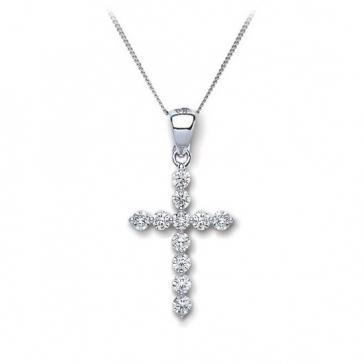 Diamond Cross Necklace 0.30ct, 18k White Gold